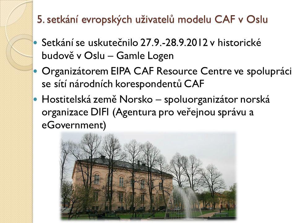5. setkání evropských uživatelů modelu CAF v Oslu Setkání se uskutečnilo 27.9.-28.9.2012 v historické budově v Oslu – Gamle Logen Organizátorem EIPA C