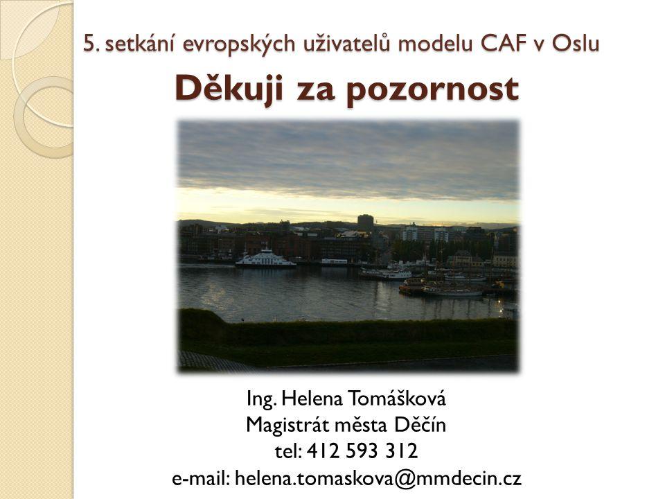Děkuji za pozornost Ing. Helena Tomášková Magistrát města Děčín tel: 412 593 312 e-mail: helena.tomaskova@mmdecin.cz