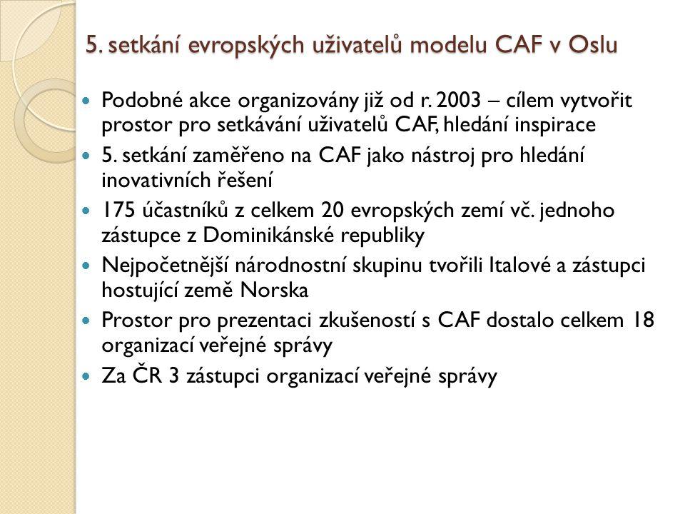 5. setkání evropských uživatelů modelu CAF v Oslu Podobné akce organizovány již od r. 2003 – cílem vytvořit prostor pro setkávání uživatelů CAF, hledá