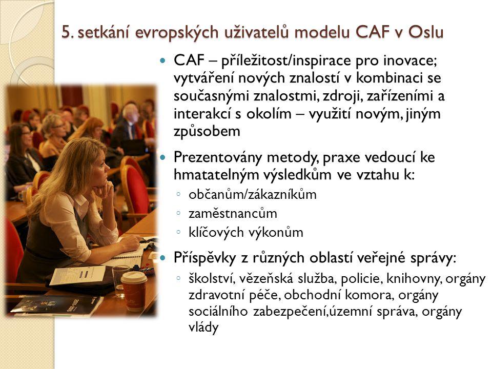 5. setkání evropských uživatelů modelu CAF v Oslu CAF – příležitost/inspirace pro inovace; vytváření nových znalostí v kombinaci se současnými znalost