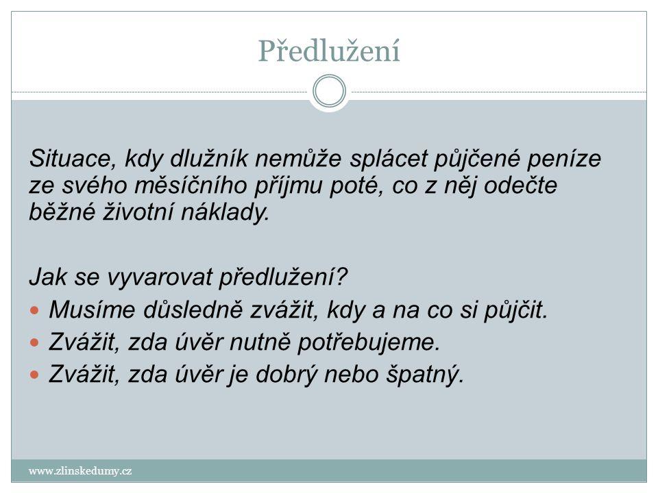 Předlužení www.zlinskedumy.cz Situace, kdy dlužník nemůže splácet půjčené peníze ze svého měsíčního příjmu poté, co z něj odečte běžné životní náklady.
