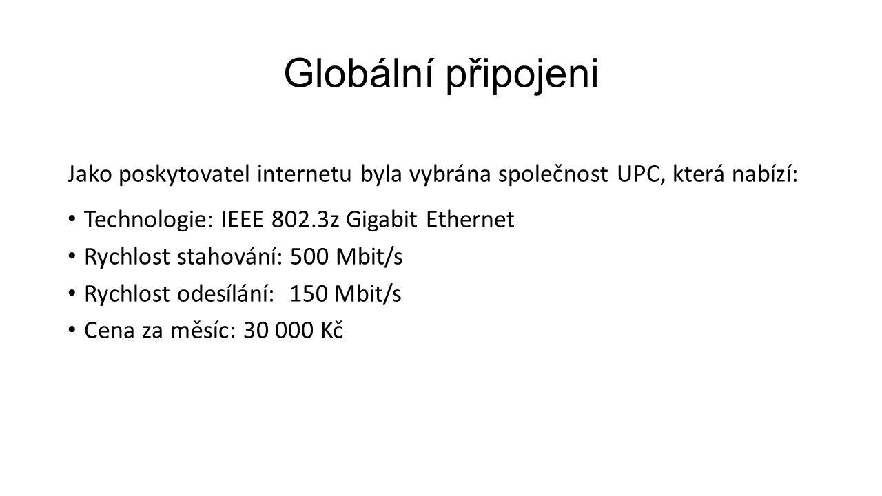 Globální připojeni Jako poskytovatel internetu byla vybrána společnost UPC, která nabízí: Technologie: IEEE 802.3z Gigabit Ethernet Rychlost stahování: 500 Mbit/s Rychlost odesílání: 150 Mbit/s Cena za měsíc: 30 000 Kč