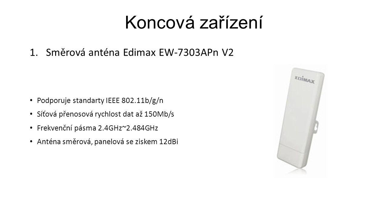 Koncová zařízení 1.Směrová anténa Edimax EW-7303APn V2 Podporuje standarty IEEE 802.11b/g/n Síťová přenosová rychlost dat až 150Mb/s Frekvenční pásma 2.4GHz~2.484GHz Anténa směrová, panelová se ziskem 12dBi