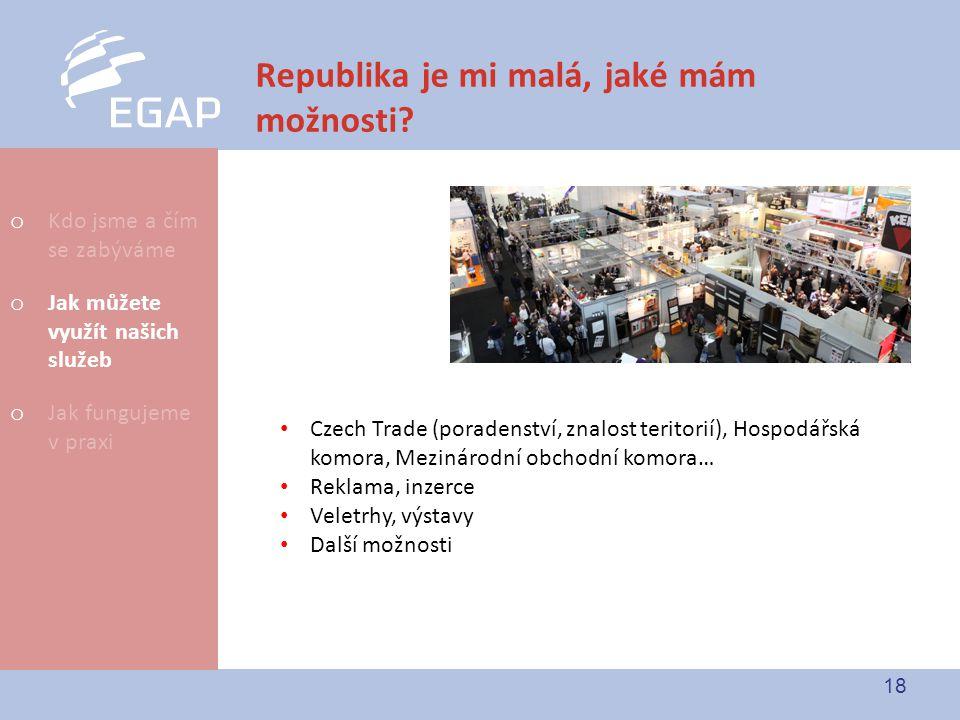 18 Republika je mi malá, jaké mám možnosti? Czech Trade (poradenství, znalost teritorií), Hospodářská komora, Mezinárodní obchodní komora… Reklama, in