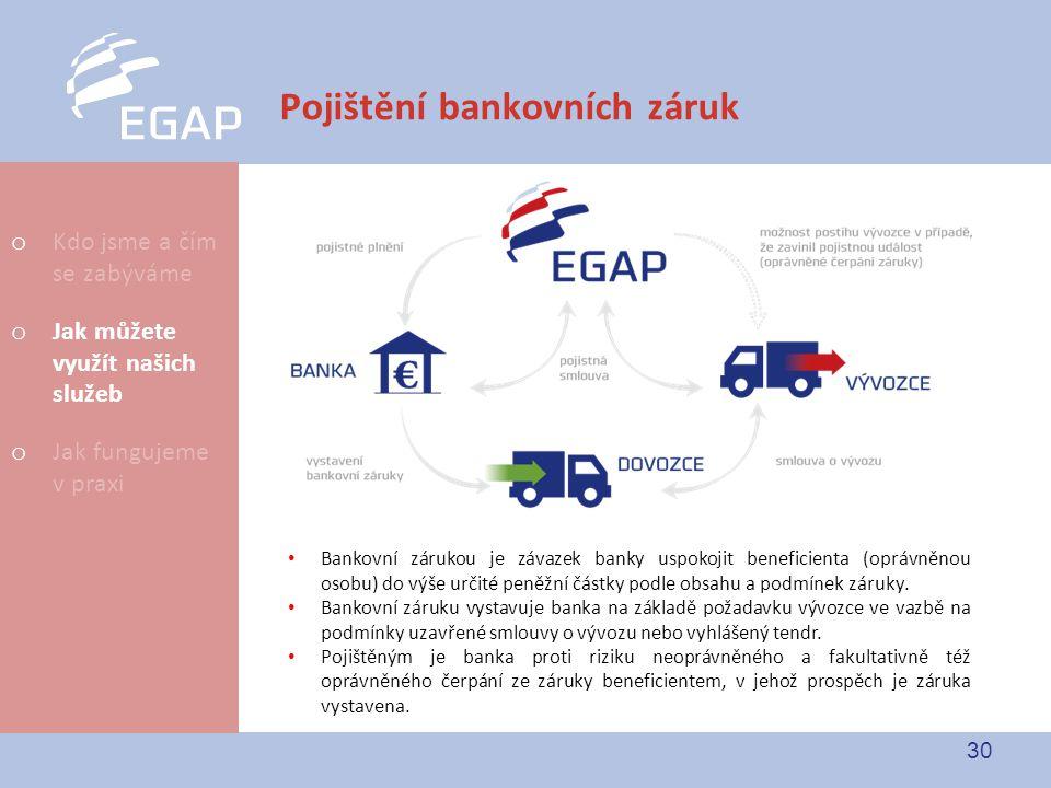 30 Pojištění bankovních záruk Bankovní zárukou je závazek banky uspokojit beneficienta (oprávněnou osobu) do výše určité peněžní částky podle obsahu a