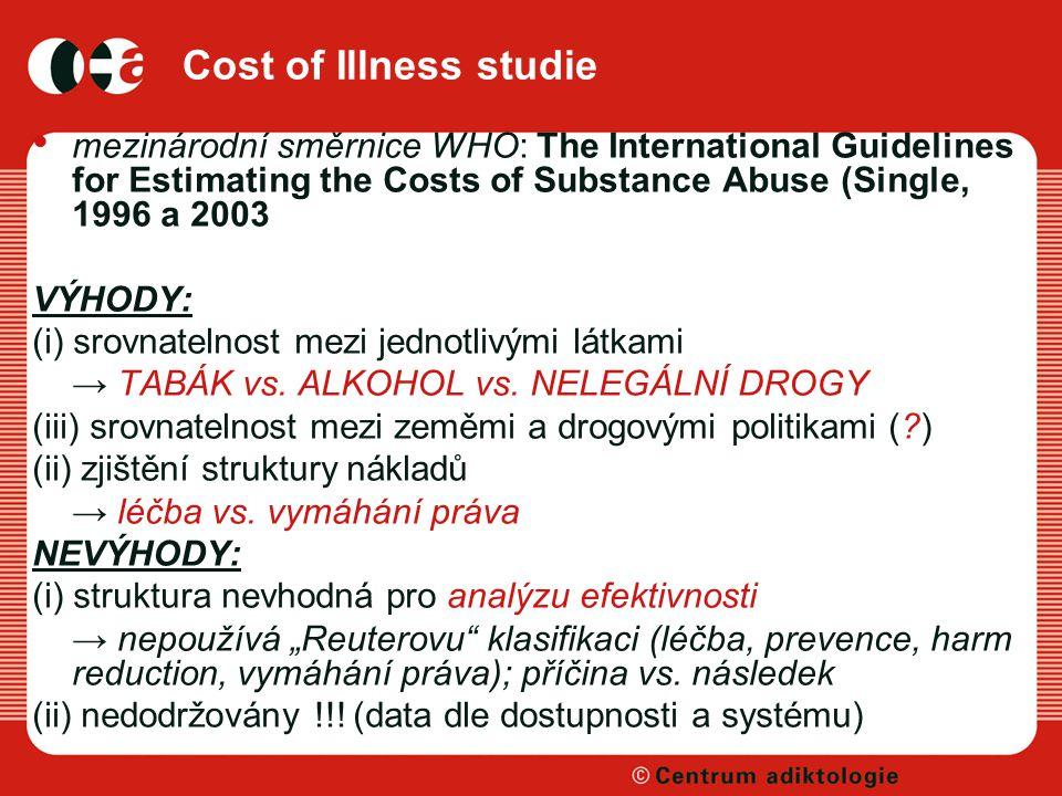 Cost of Illness studie mezinárodní směrnice WHO: The International Guidelines for Estimating the Costs of Substance Abuse (Single, 1996 a 2003 VÝHODY: (i) srovnatelnost mezi jednotlivými látkami → TABÁK vs.
