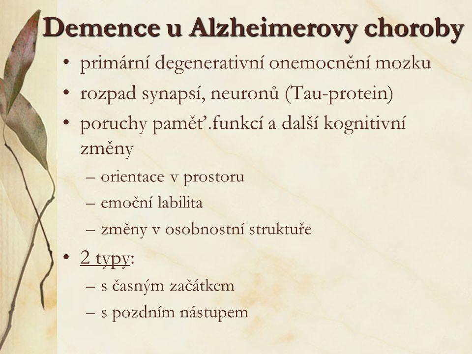Demence u Alzheimerovy choroby primární degenerativní onemocnění mozku rozpad synapsí, neuronů (Tau-protein) poruchy paměť.funkcí a další kognitivní z