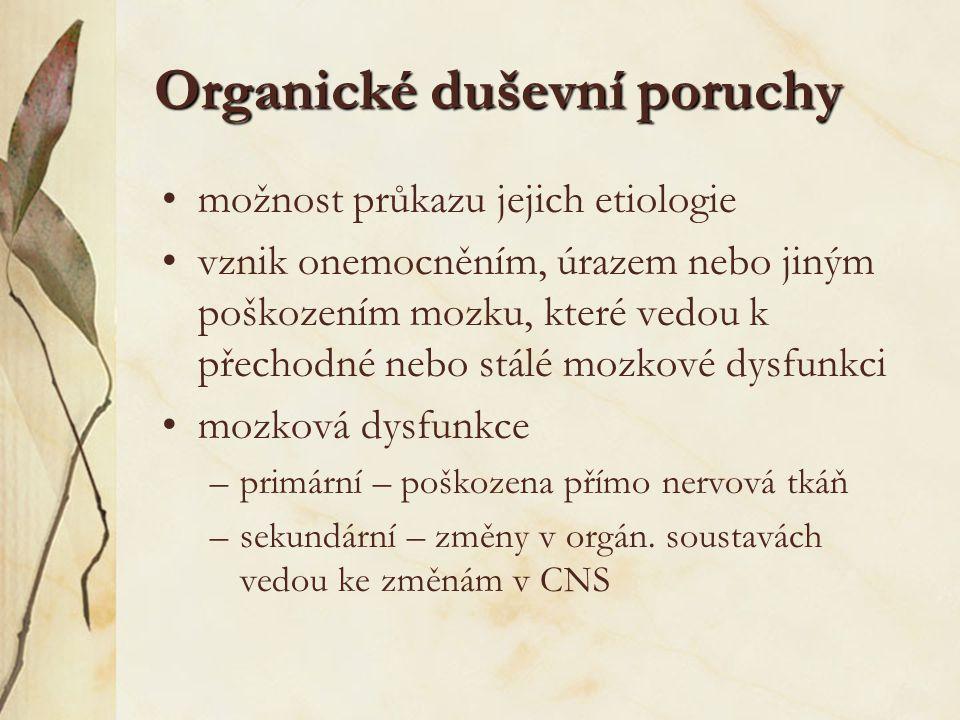 Rozdělení podle MKN-10 F00-F09 Organické duševní poruchy, včetně symptomatických F00 Demence u Alzheimerovy choroby F01 Vaskulární demence F02 Demence u chorob klasifikovaných jinde F03 Nespecifikovaná demence F04 Organický amnestickýsyndrom jiný než vyvolaný alkoholem a jinými psychoaktivními látkami F05 Delirium jiné než vyvolané alkoholem nebo jinými psychoaktivními látkami F06 Jiné duševní poruchy vznikající následkem onemocnění, poškození nebo dysfunkce mozku nebo následkem somatického onemocnění F07 Poruchy osobnosti a poruchy chování vyvolané onemocněním, poškozením nebo dysfunkcí mozku F09 Neurčená organická nebo symptomatická duševní porucha