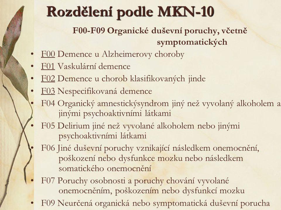 Rozdělení demencí podle MKN- 10 F00 Demence u Alzheimerovy choroby.0 s časným začátkem.1 s pozdním začátkem.2 atypický nebo smíšený typ F01 Vaskulární demence.0 Vaskulární demence s akutním začátkem.1 Multiinfarktová demence.2 Subkortikální vaskulární demence.3 Smíšená kortikální a subkortikální vaskulární demence.8 Jiné vaskulární demence F02 Demence u chorob klasifikovaných jinde.0 Demence u Pickovy choroby.1 Demence u Creutzfeldtovy-Jacobovy choroby.2 Demence u Huntingtonovy choroby.3 Demence u Parkinsonovy choroby.4 Demence u HIV (u onemocnění virem lidské imunodeficience).8 Demence u ostatních chorob klasifikovaných jinde F03 Nespecifikovaná demence