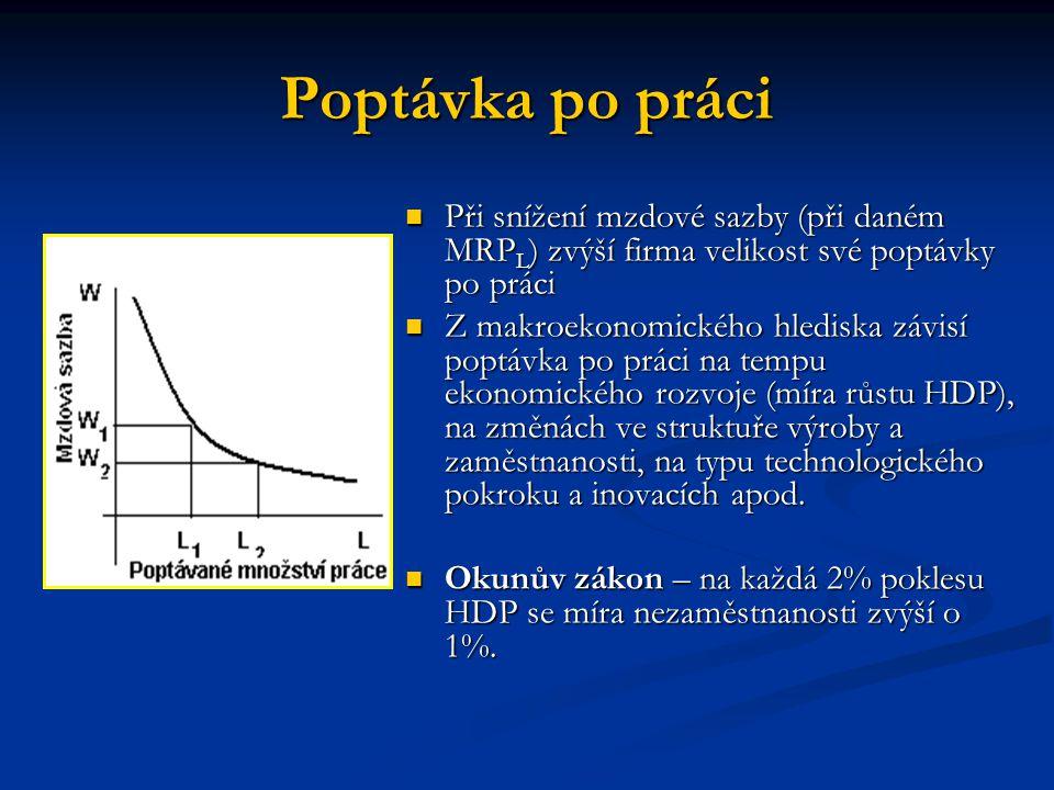 Poptávka po práci Při snížení mzdové sazby (při daném MRP L ) zvýší firma velikost své poptávky po práci Při snížení mzdové sazby (při daném MRP L ) z
