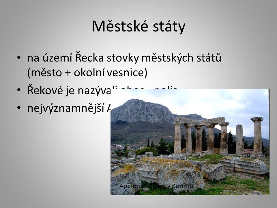 Městské státy na území Řecka stovky městských států (město + okolní vesnice) Řekové je nazývali obec - polis nejvýznamnější Athény a Sparta Apolónův c