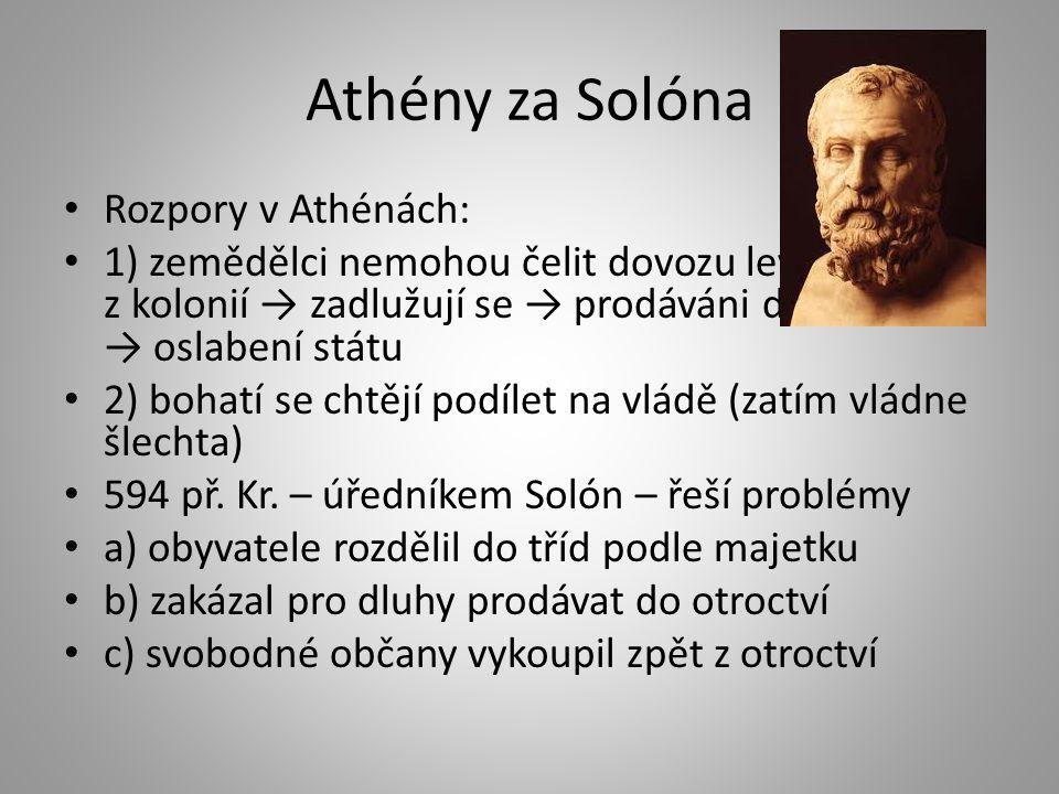 Athény za Solóna Rozpory v Athénách: 1) zemědělci nemohou čelit dovozu levného obilí z kolonií → zadlužují se → prodáváni do otroctví → oslabení státu