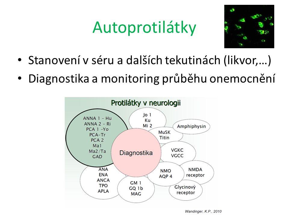 Autoprotilátky Stanovení v séru a dalších tekutinách (likvor,…) Diagnostika a monitoring průběhu onemocnění