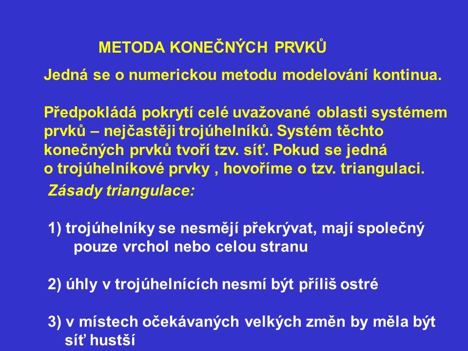 METODA KONEČNÝCH PRVKŮ Jedná se o numerickou metodu modelování kontinua.