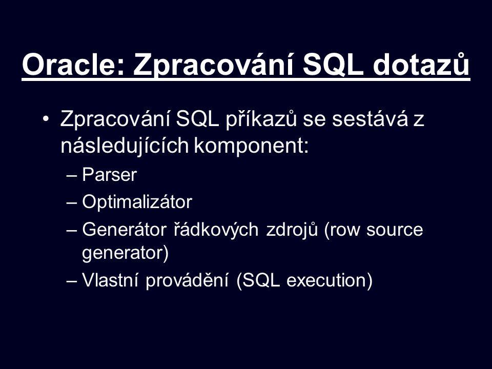 Oracle: Zpracování SQL dotazů Zpracování SQL příkazů se sestává z následujících komponent: –Parser –Optimalizátor –Generátor řádkových zdrojů (row source generator) –Vlastní provádění (SQL execution)