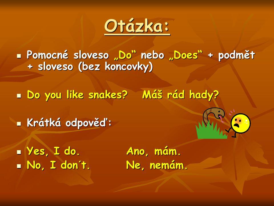 """Otázka: Pomocné sloveso """"Do nebo """"Does + podmět + sloveso (bez koncovky) Pomocné sloveso """"Do nebo """"Does + podmět + sloveso (bez koncovky) Do you like snakes."""
