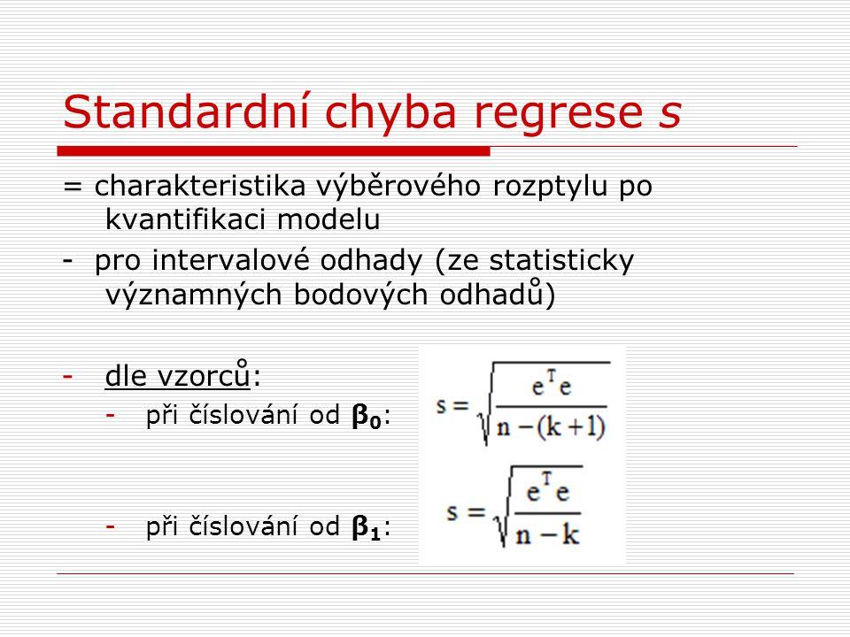 Standardní chyba regrese s = charakteristika výběrového rozptylu po kvantifikaci modelu - pro intervalové odhady (ze statisticky významných bodových odhadů) -dle vzorců: -při číslování od β 0 : -při číslování od β 1 :