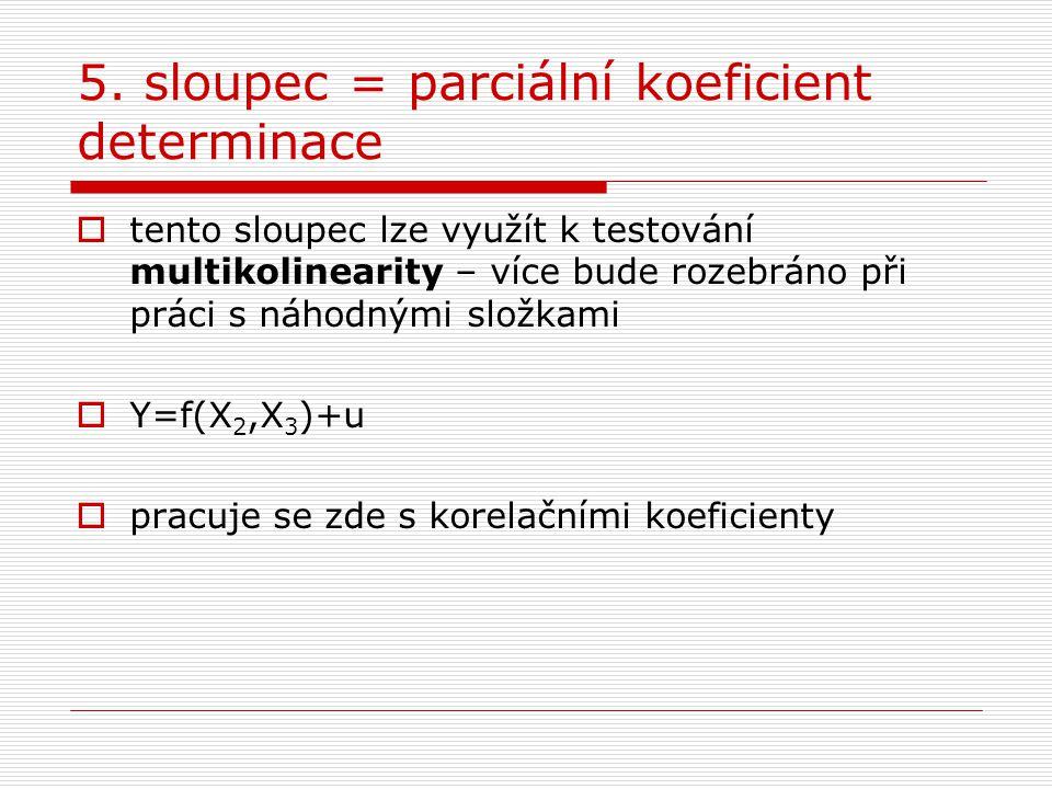 5. sloupec = parciální koeficient determinace  tento sloupec lze využít k testování multikolinearity – více bude rozebráno při práci s náhodnými slož