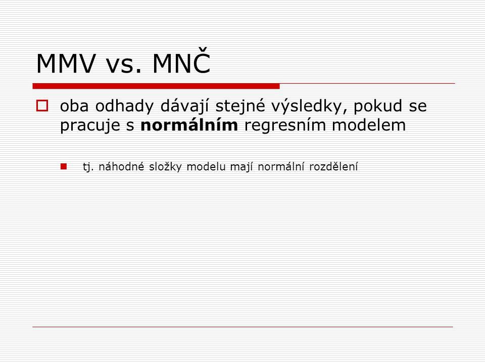 MMV vs.MNČ  oba odhady dávají stejné výsledky, pokud se pracuje s normálním regresním modelem tj.