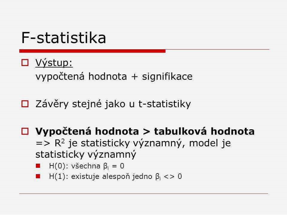 F-statistika  Výstup: vypočtená hodnota + signifikace  Závěry stejné jako u t-statistiky  Vypočtená hodnota > tabulková hodnota => R 2 je statisticky významný, model je statisticky významný H(0): všechna β i = 0 H(1): existuje alespoň jedno β i <> 0
