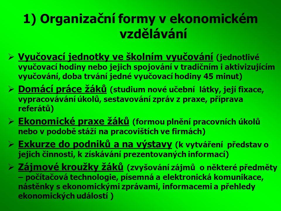 1) Organizační formy v ekonomickém vzdělávání  Vyučovací jednotky ve školním vyučování (jednotlivé vyučovací hodiny nebo jejich spojování v tradičním