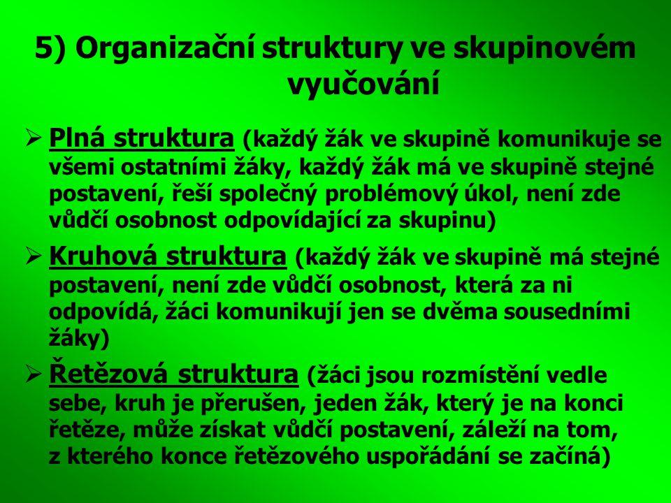 5) Organizační struktury ve skupinovém vyučování  Plná struktura (každý žák ve skupině komunikuje se všemi ostatními žáky, každý žák má ve skupině st