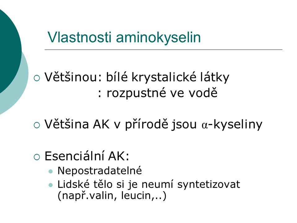 Vlastnosti aminokyselin  Většinou: bílé krystalické látky : rozpustné ve vodě  Většina AK v přírodě jsou α -kyseliny  Esenciální AK: Nepostradateln