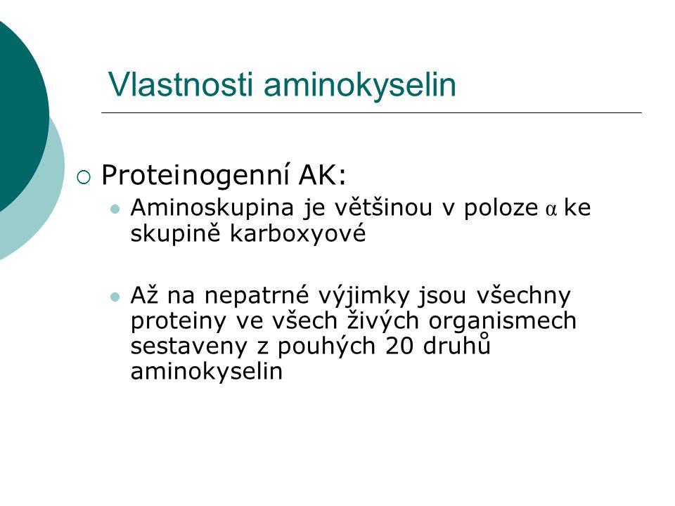 Vlastnosti aminokyselin  Proteinogenní AK: Aminoskupina je většinou v poloze α ke skupině karboxyové Až na nepatrné výjimky jsou všechny proteiny ve