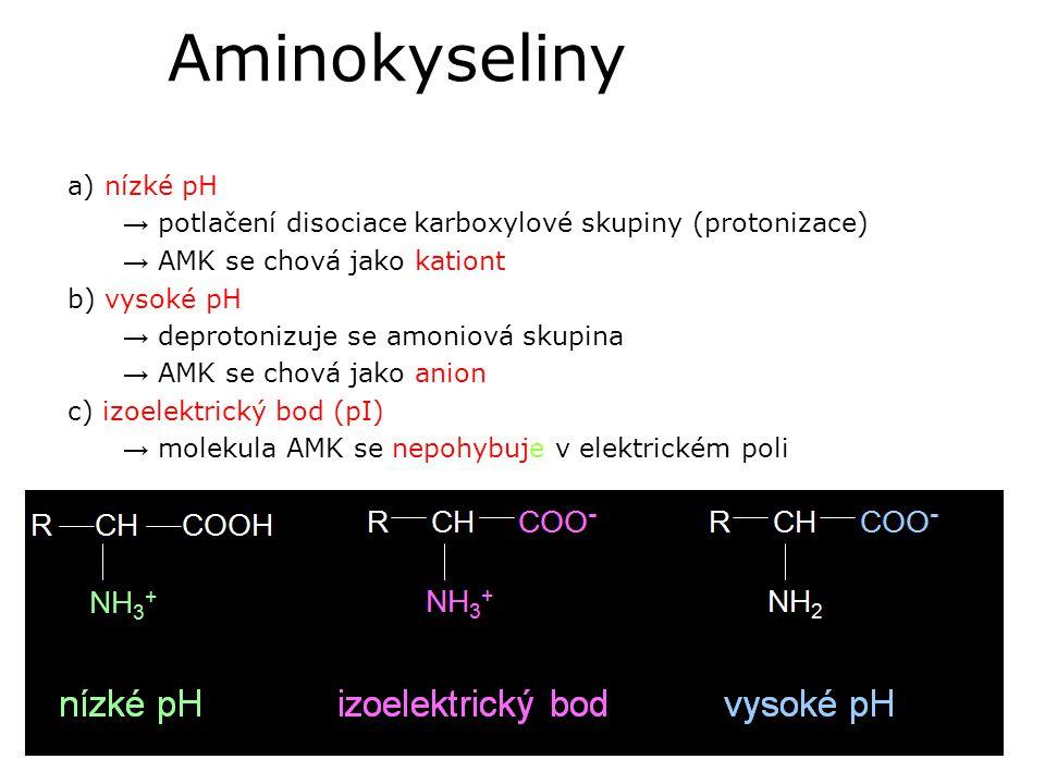 Aminokyseliny a) nízké pH → potlačení disociace karboxylové skupiny (protonizace) → AMK se chová jako kationt b) vysoké pH → deprotonizuje se amoniová