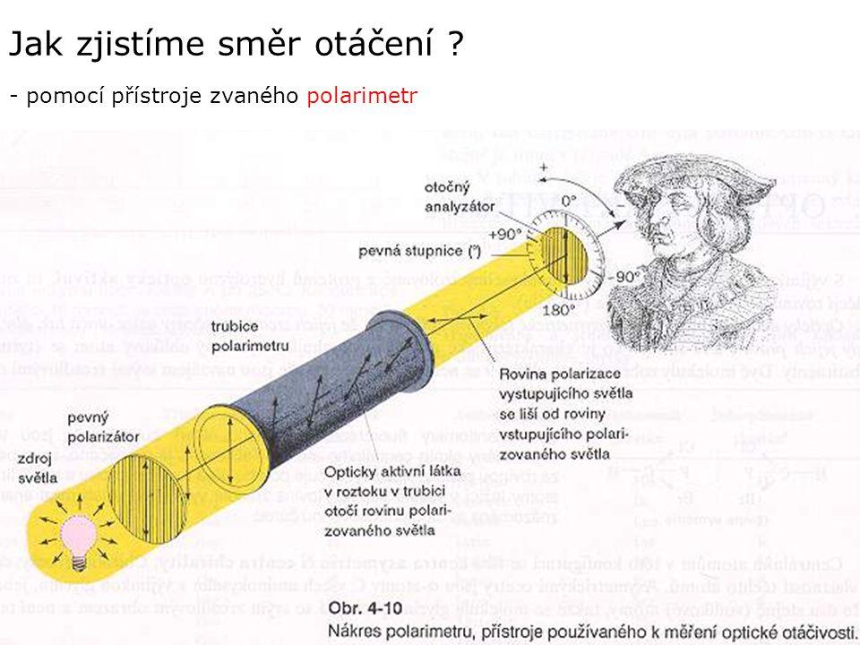 Jak zjistíme směr otáčení ? - pomocí přístroje zvaného polarimetr