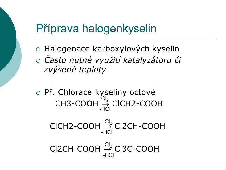 Vlastnosti a význam halogenkyselin  Vlastnosti: - dobře rozpustné ve vodě a polárních organických rozpouštědlech - silnější kyseliny, než kyseliny původní (kys.trichloroctová patří k nejsilnějším kyselinám) - toxické látky s leptavými účinky  Význam: - výchozí látky při syntéze jiných substitučních derivátů
