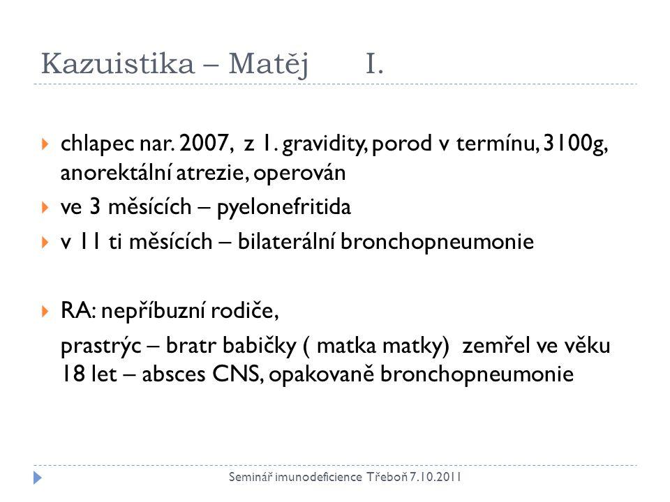 Kazuistika – Matěj I.  chlapec nar. 2007, z 1. gravidity, porod v termínu, 3100g, anorektální atrezie, operován  ve 3 měsících – pyelonefritida  v