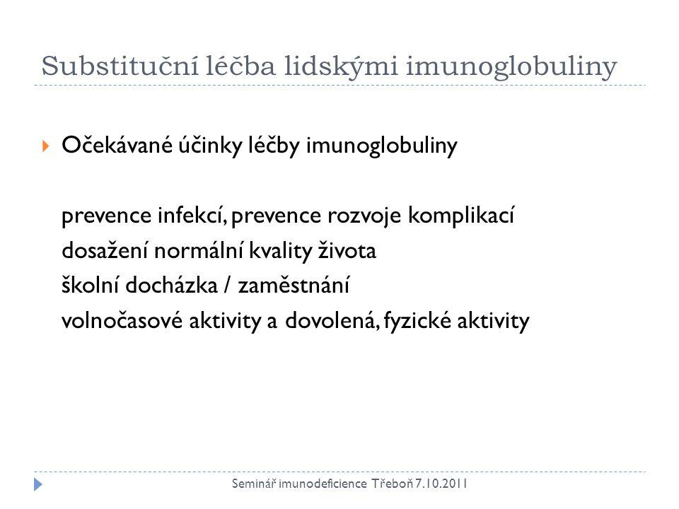 Substituční léčba lidskými imunoglobuliny  Očekávané účinky léčby imunoglobuliny prevence infekcí, prevence rozvoje komplikací dosažení normální kval