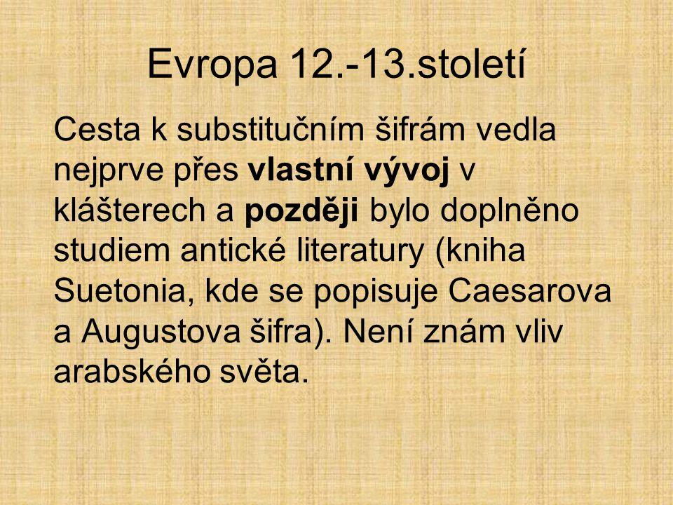 Evropa 12.-13.století Cesta k substitučním šifrám vedla nejprve přes vlastní vývoj v klášterech a později bylo doplněno studiem antické literatury (kniha Suetonia, kde se popisuje Caesarova a Augustova šifra).