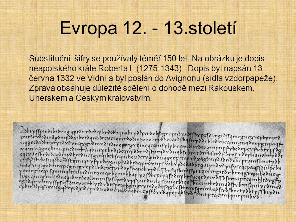 Evropa 12. - 13.století Substituční šifry se používaly téměř 150 let. Na obrázku je dopis neapolského krále Roberta I. (1275-1343). Dopis byl napsán 1