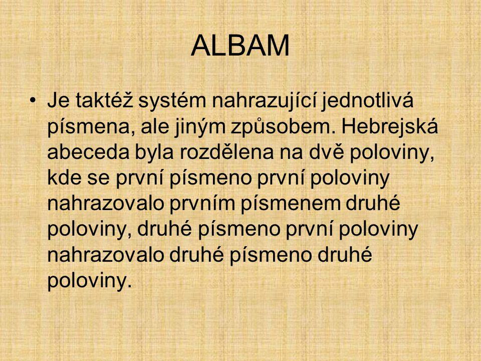 ALBAM Je taktéž systém nahrazující jednotlivá písmena, ale jiným způsobem. Hebrejská abeceda byla rozdělena na dvě poloviny, kde se první písmeno prvn