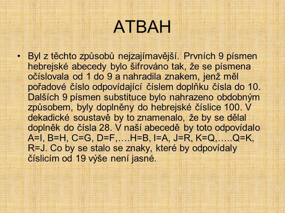 ATBAH Byl z těchto způsobů nejzajímavější. Prvních 9 písmen hebrejské abecedy bylo šifrováno tak, že se písmena očíslovala od 1 do 9 a nahradila znake