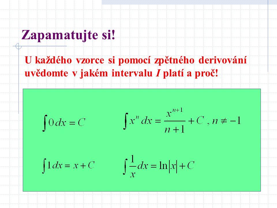 Zapamatujte si! U každého vzorce si pomocí zpětného derivování uvědomte v jakém intervalu I platí a proč!