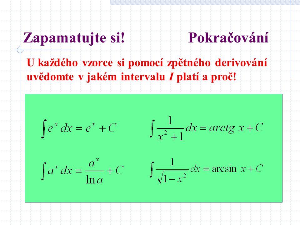 Zapamatujte si! Pokračování U každého vzorce si pomocí zpětného derivování uvědomte v jakém intervalu I platí a proč!