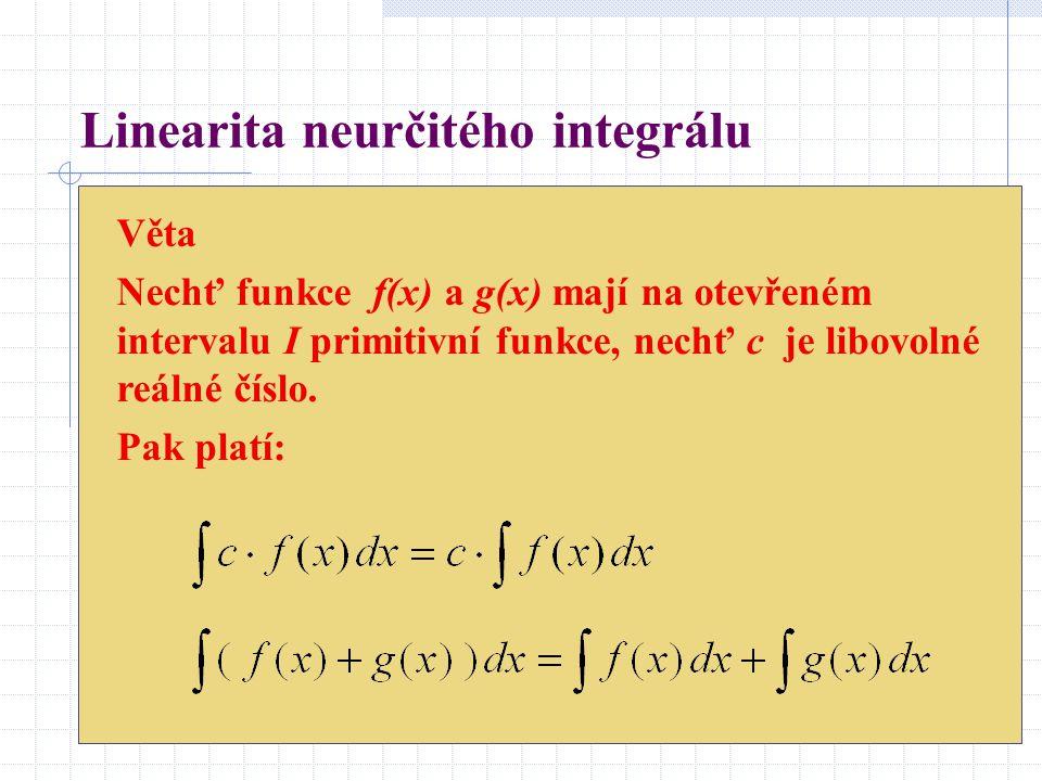 Věta Nechť funkce f(x) a g(x) mají na otevřeném intervalu I primitivní funkce, nechť c je libovolné reálné číslo. Pak platí: