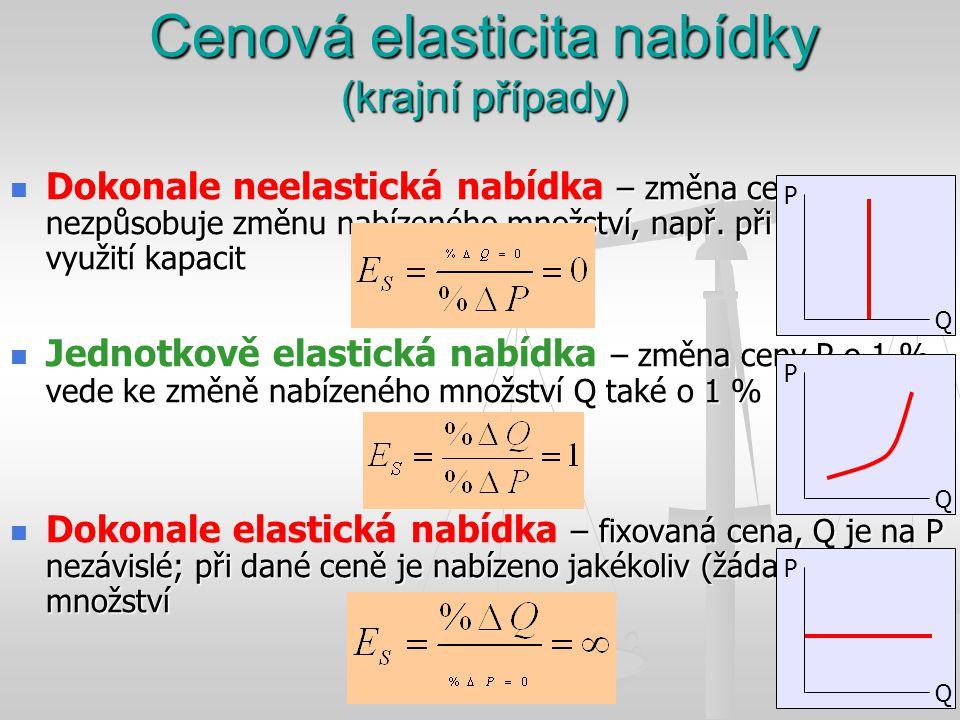 Cenová elasticita nabídky (krajní případy) – změna ceny nezpůsobuje změnu nabízeného množství, např. při plném využití kapacit Dokonale neelastická na