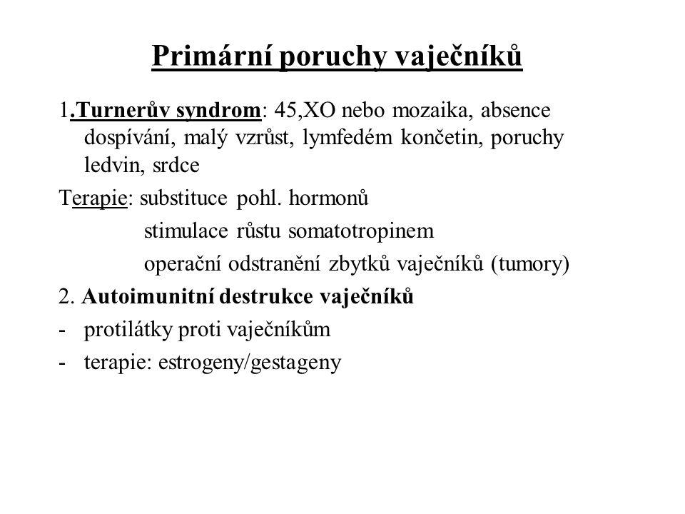 Centrální poruchy vaječníků 1.porucha hypotalamu nebo hypofýzy - poruchy GnRH, LH,FSH 2.hyperprolaktinémie -porucha funkce vaječníků, galaktorea, anovulace, poruchy fertility terapie: dopaminergní agonisté Zvýšená sekrece androgenů u žen 1.polycystická ovaria 2.adrenogenitální syndrom Terapie: kortikoidy, antiandrogeny (k ovlivnění hirsutismu)
