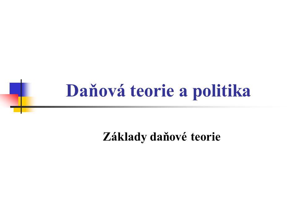 Základní daňové principy Všeobecnost daní Spravedlnost daní Efektivnost daní Daňová výtěžnost Stabilita daňového práva Harmonizace (některých) daní v rámci EU …