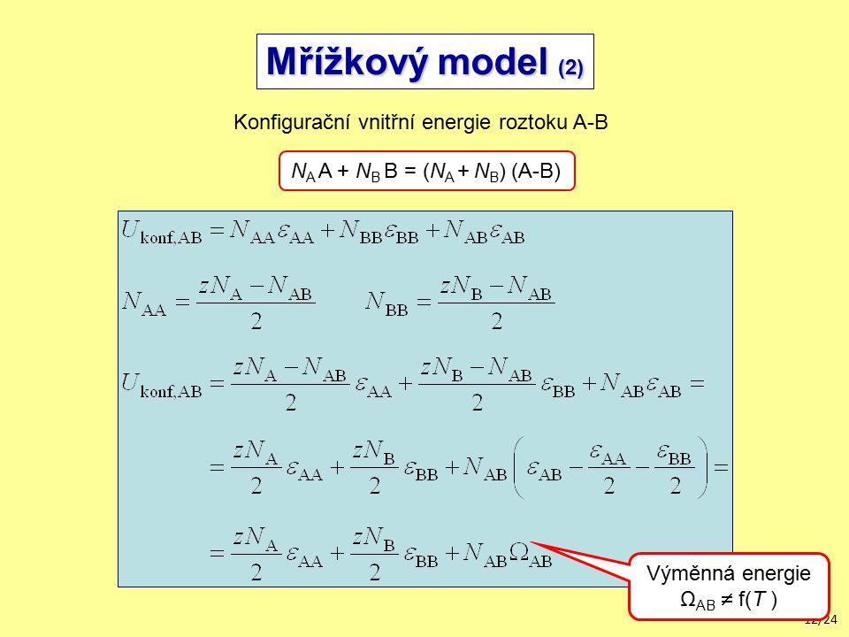 12/24 Mřížkový model (2) Konfigurační vnitřní energie roztoku A-B N A A + N B B = (N A + N B ) (A-B) Výměnná energie Ω AB  f(T )