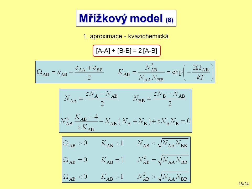 18/24 Mřížkový model (8) 1. aproximace - kvazichemická [A-A] + [B-B] = 2 [A-B]