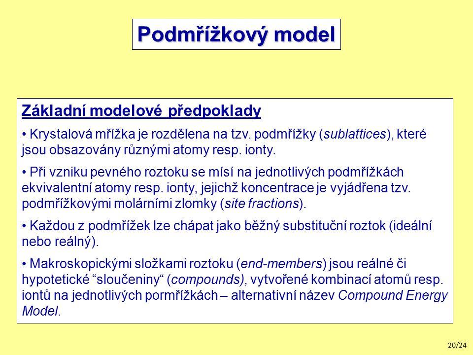 20/24 Podmřížkový model Základní modelové předpoklady Krystalová mřížka je rozdělena na tzv.