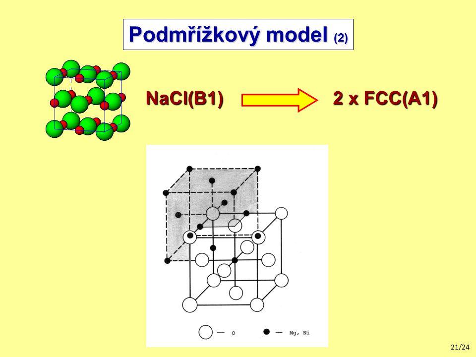21/24 Podmřížkový model (2) NaCl(B1) 2 x FCC(A1)