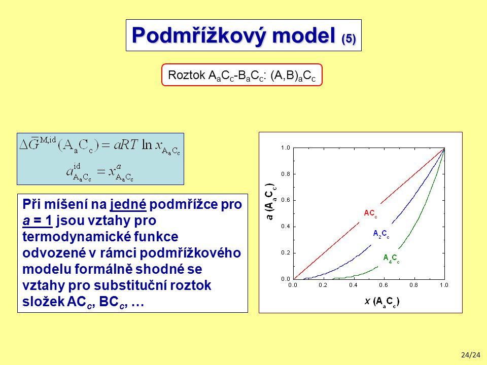 24/24 Podmřížkový model (5) Roztok A a C c -B a C c : (A,B) a C c Při míšení na jedné podmřížce pro a = 1 jsou vztahy pro termodynamické funkce odvozené v rámci podmřížkového modelu formálně shodné se vztahy pro substituční roztok složek AC c, BC c, …