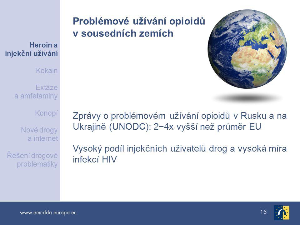 16 Zprávy o problémovém užívání opioidů v Rusku a na Ukrajině (UNODC): 2−4x vyšší než průměr EU Vysoký podíl injekčních uživatelů drog a vysoká míra infekcí HIV Problémové užívání opioidů v sousedních zemích Heroin a injekční užívání Kokain Extáze a amfetaminy Konopí Nové drogy a internet Řešení drogové problematiky