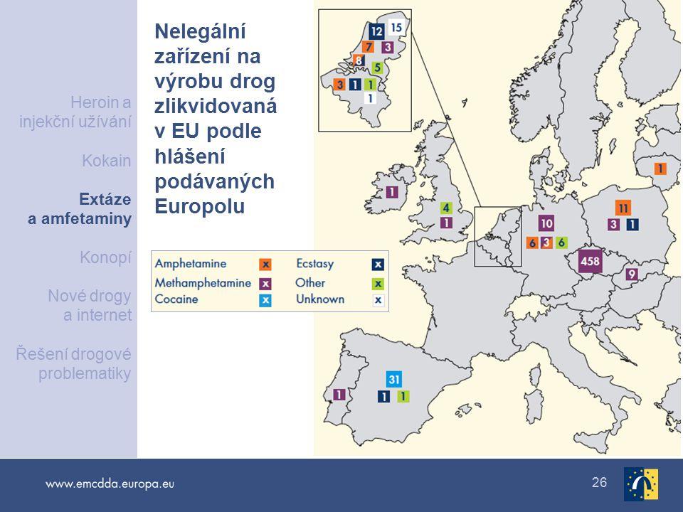 26 Nelegální zařízení na výrobu drog zlikvidovaná v EU podle hlášení podávaných Europolu Heroin a injekční užívání Kokain Extáze a amfetaminy Konopí Nové drogy a internet Řešení drogové problematiky